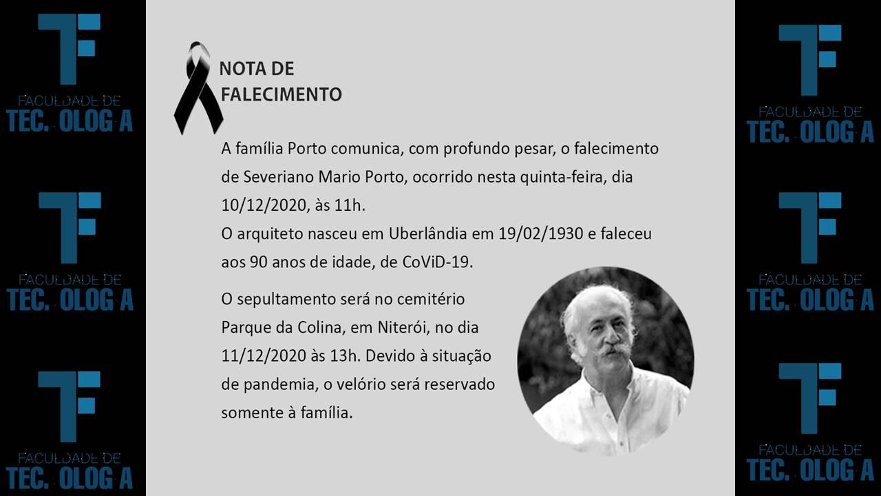 Nota de Falecimento do Arquiteto Severiano Mario Porto